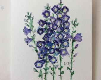 BellFlowers (Companula) Watercolor Card / Hand Painted Watercolor Card