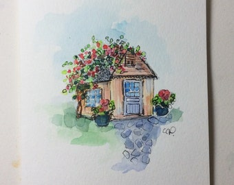 Potting Shed Watercolor Card / Hand Painted Watercolor Card