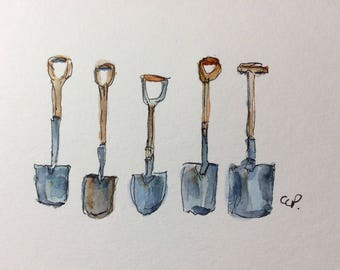 Garden Shovels Watercolor Card / Hand Painted Watercolor Card