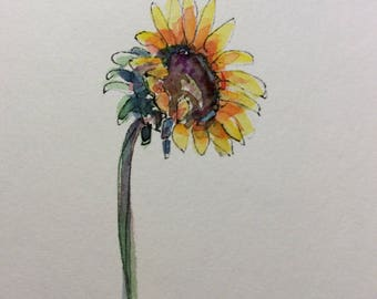 One Sunflower Watercolor Card / Hand Painted Watercolor Card