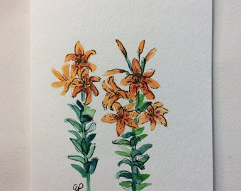 Lilies Watercolor Card / Hand Painted Watercolor Card