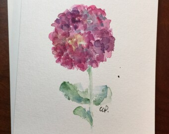 Pink Hydrangea Watercolor Card / Hand Painted Watercolor Card