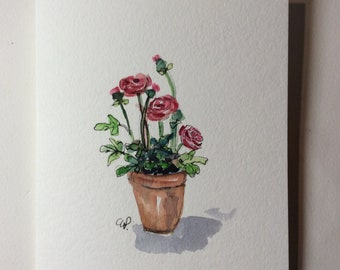 Ranunculas Watercolor Card / Hand Painted Watercolor Card