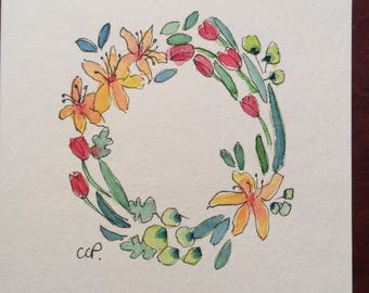 Wreath of Flowers Watercolor Card / Hand Painted Watercolor Card