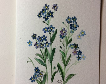 Forget me Nots Watercolor Card / Hand Painted Watercolor Card