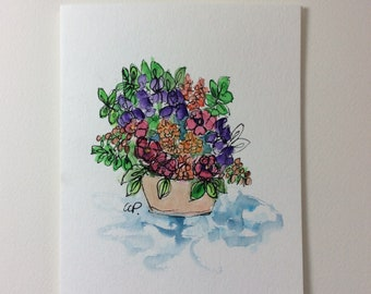 Blooms Watercolor Card / Hand Painted Watercolor Card