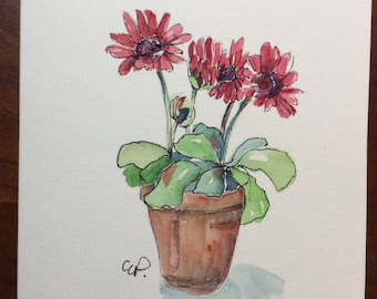 Potted Blooms Watercolor Card / Hand Painted Watercolor Card