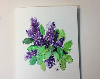 Lilacs Watercolor Card / Hand Painted Watercolor Card