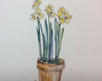 Potted Paperwhites Watercolor Card / Hand Painted Watercolor Card