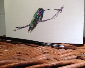 Little Hummingbird Watercolor Card