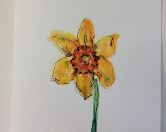 One Daffodil Watercolor Card / Hand Painted Watercolor Card