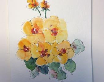 Pansies Watercolor Card / Hand Painted Watercolor Card