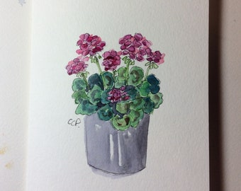 Potted Geraniums Watercolor Card / Hand Painted Watercolor Card