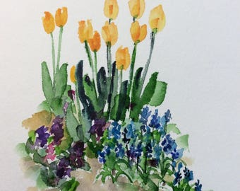 Flower Garden Watercolor Card / Hand Painted Watercolor Card