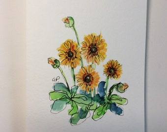 Yellow Gerber Daisies Watercolor Card / Hand Painted Watercolor Card
