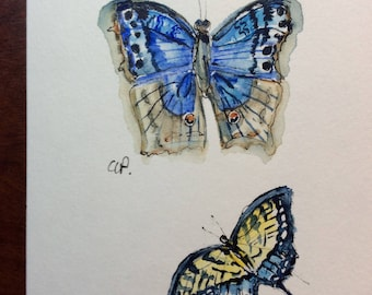 Two Butterflies Watercolor Card / Hand Painted Watercolor Card