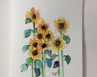 Sunflowers Watercolor Card / Hand Painted Watercolor Card