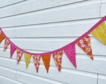 Girly Girl Fabric Bunting -  Party Flag - Fabric Flag - Fabric Banner - Photo Prop