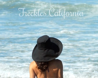 Black Wide Brim Sun Hat Womens Travel Sun Hat Foldable Honeymoon Gift for Herby Freckles California Size Small Medium Large or X Large
