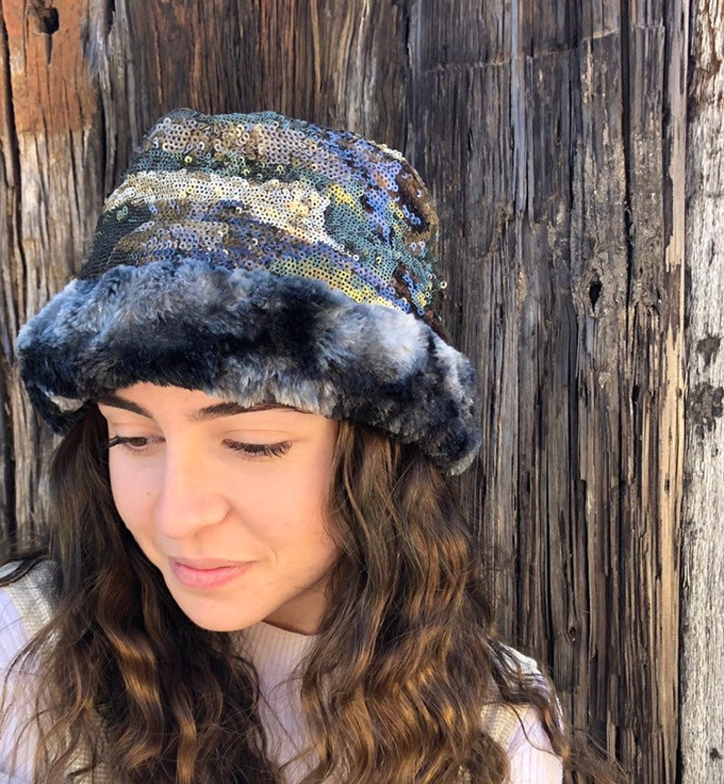 Winter Hat in Camo Sequin Sparkly Hat with Furry Trim Holiday  df29fc47a69c