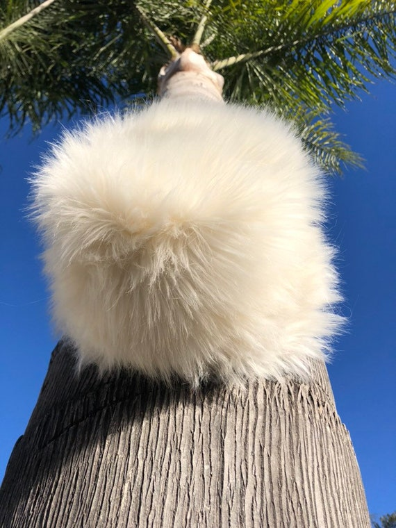 Furry Winter Hat in Cream Womens Winter Hat Long Furry Faux  0f693562def4