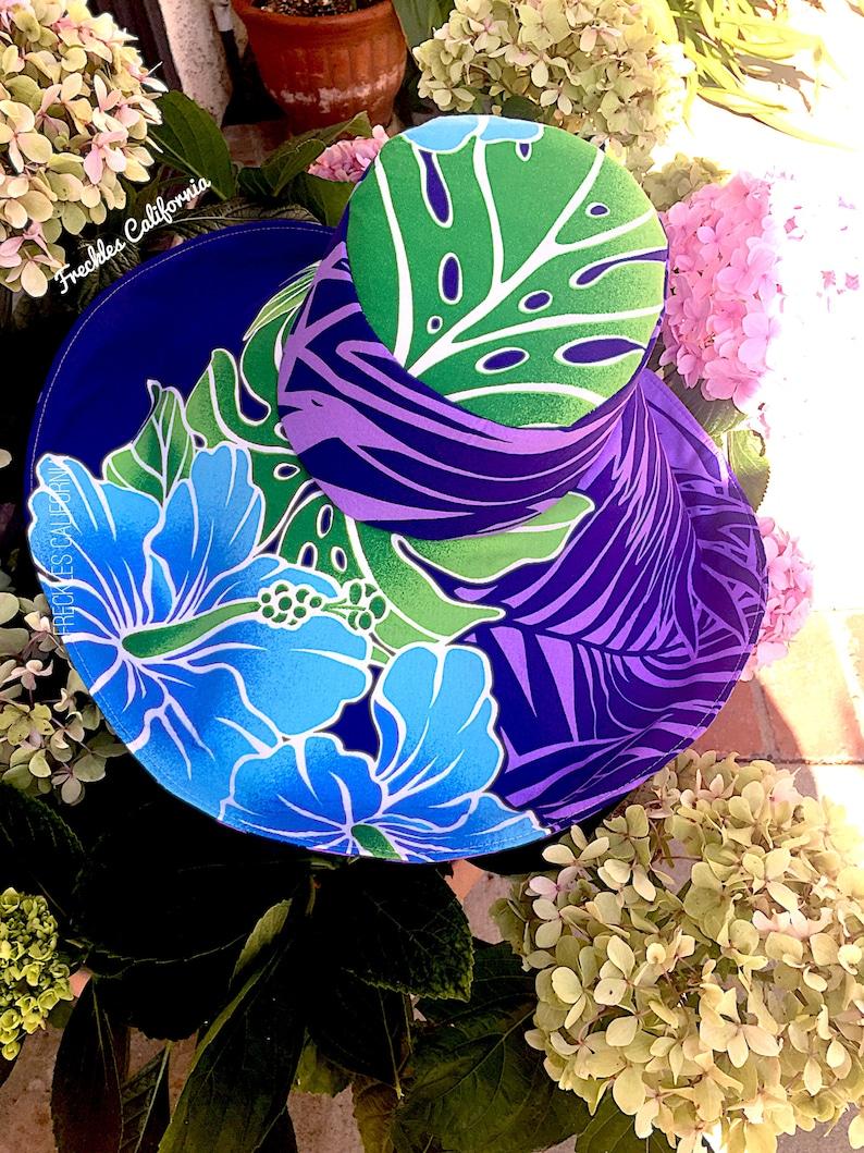 Purple Wide Brim Sunhat Honeymoon Gift for Her Pantone Hawaiian Print Summer Beach Hat by Freckles California