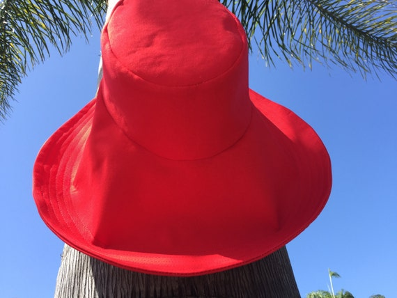 Pop of Color Sun hat Red Hat Big Brim Sunhat Select Size  abf7c2e8ba00
