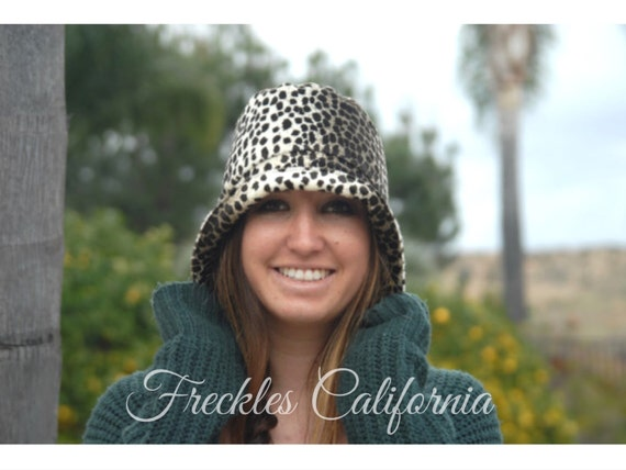 Leopard Print Hat Fall Winter Hat Gift for Her Bucket Hat  ba9c06b31304