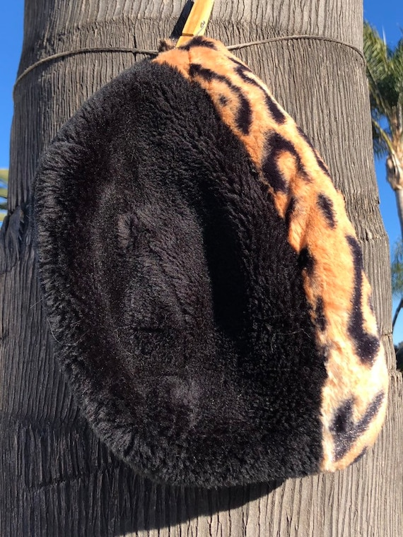 Black Faux Fur Hat Winter Hat with Leopard Trim Warm Winter  3a8989b02c97