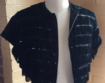 Black fringe and sequined Going to a Go Go top Medium