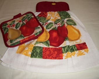 Apples and Pears Double Layered Kitchen Towel,Potholder,Hanging Towel,Housewarming,Gifts,Ready To Ship