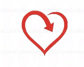 Recycle Love Heart Embroidery Design Instant Download