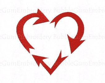 Triple Arrow Recycle Love Embroidery Design Instant Download
