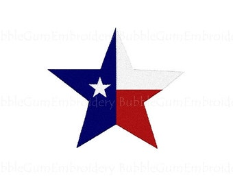 Texas Flag Star Embroidery Design Instant Download