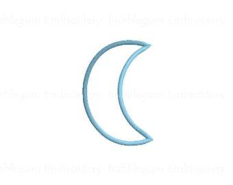 Crescent Moon Applique Embroidery Design Instant Download