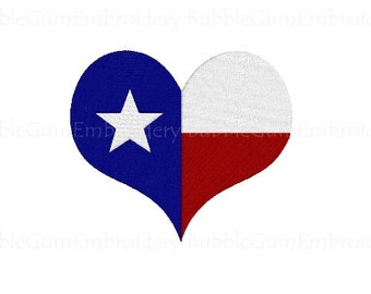 Texas Flag Heart Embroidery Design Instant Download