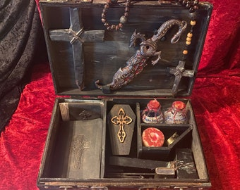 Original Vampire Killing Kit by CRYSTOBAL, Vampyre Slayer Hunting Kit with knife, Buffy Dracula Goth Occult Antiqued