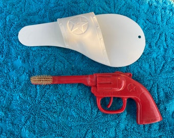 1950s Red Kid's Toothbrush Gun, Children's Plastic Novelty Cowboy Pistol Tooth brush with Holster, Cool & Fun