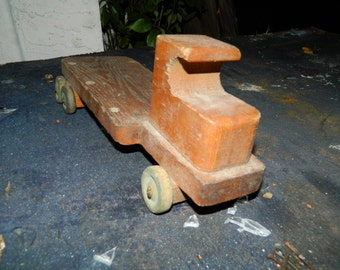 Antique Toy Wooden Truck, Wood Wheels, 1920s Style, Possibly Hand Made, 1930s-50s, primitive Mack truck