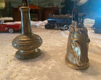 Cigarette Lighters, Occupied Japan, Vintage mid-century silver plated cigar lighter Horse Head Equestrian Genie!