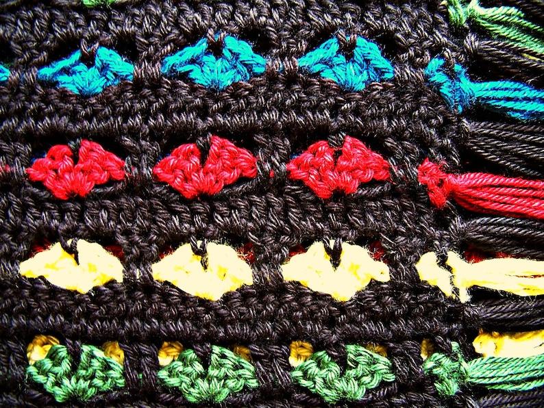Crochet Afghan Colorful Hearts