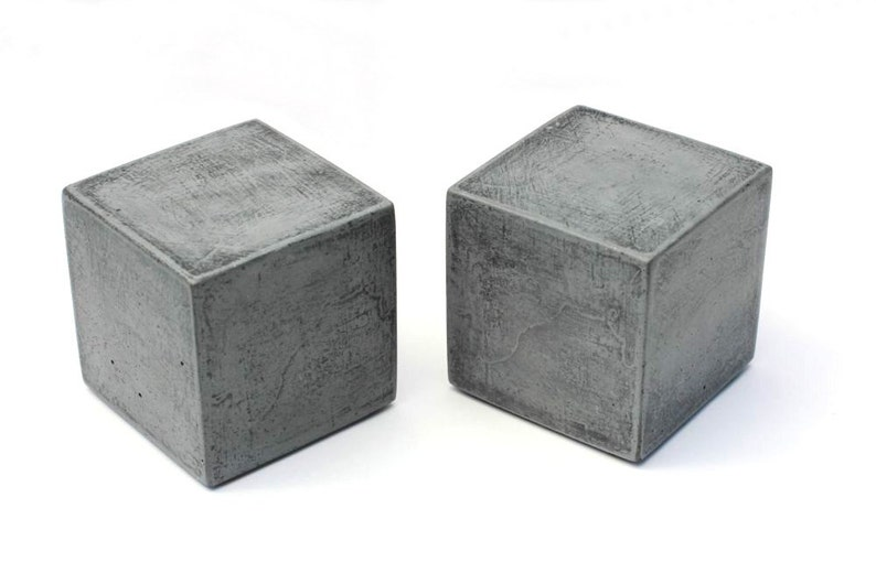 Modern Square Concrete Bookends Set of 2 / Heavy Bookends / image 0