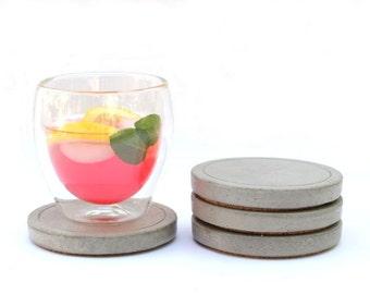 Round Concrete Coaster - set of 4