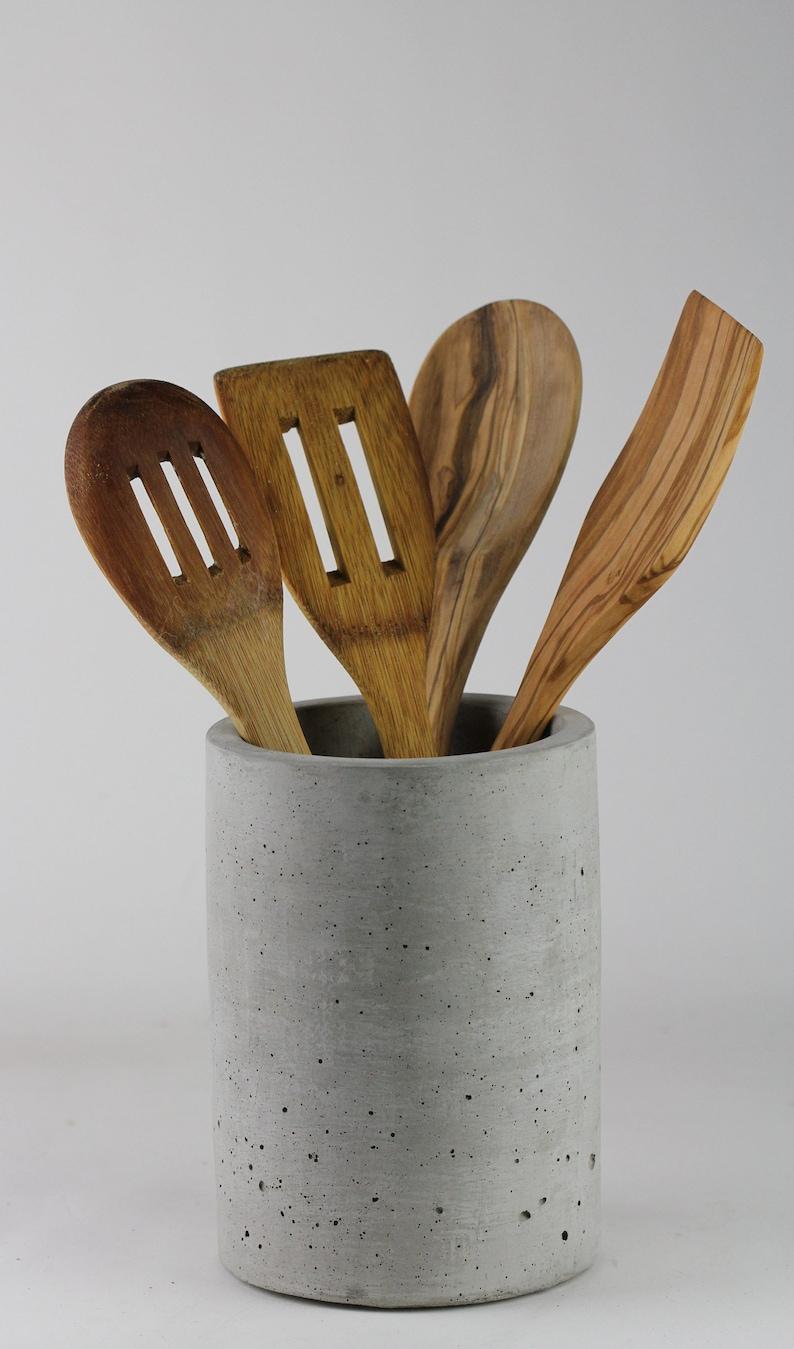 Concrete Utensil Holder, Kitchen Utensil Crock,  Kitchen Utensil Holder