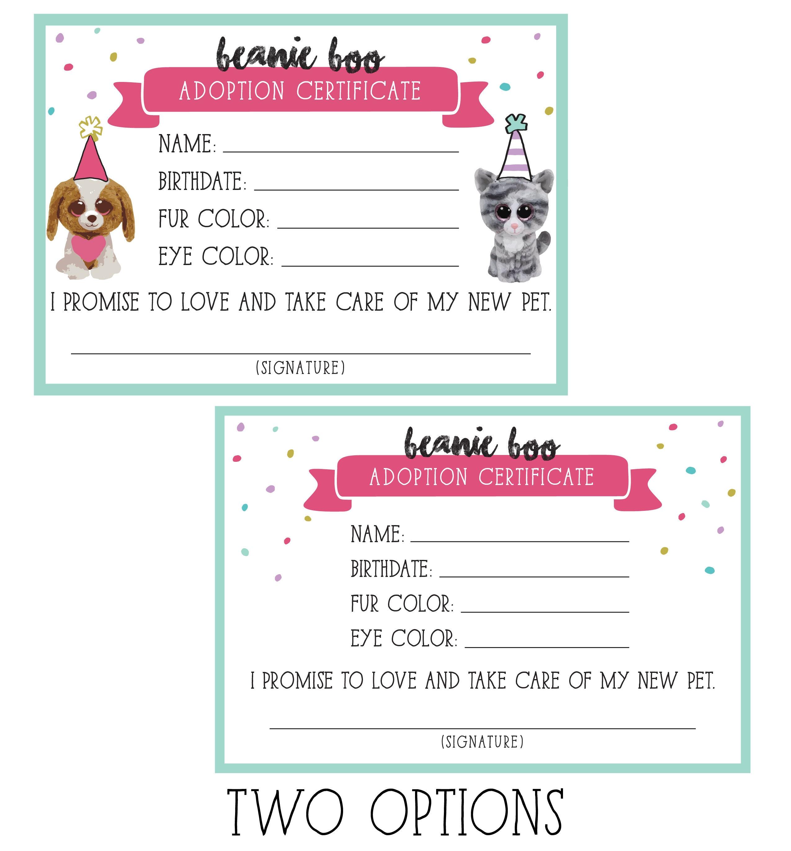 Beanie Boo Adoption Certificate Etsy