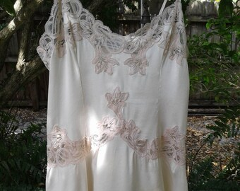 80s CHARLOTTE DECOSSE—Silk and Lace Camisole Top