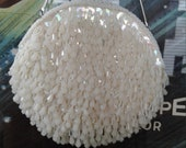 60s WALBORG Ivory Fringed Beaded Bag Opalescent Shimmy Shimmy Made in Hong Kong Rhinestone Clasp Mint