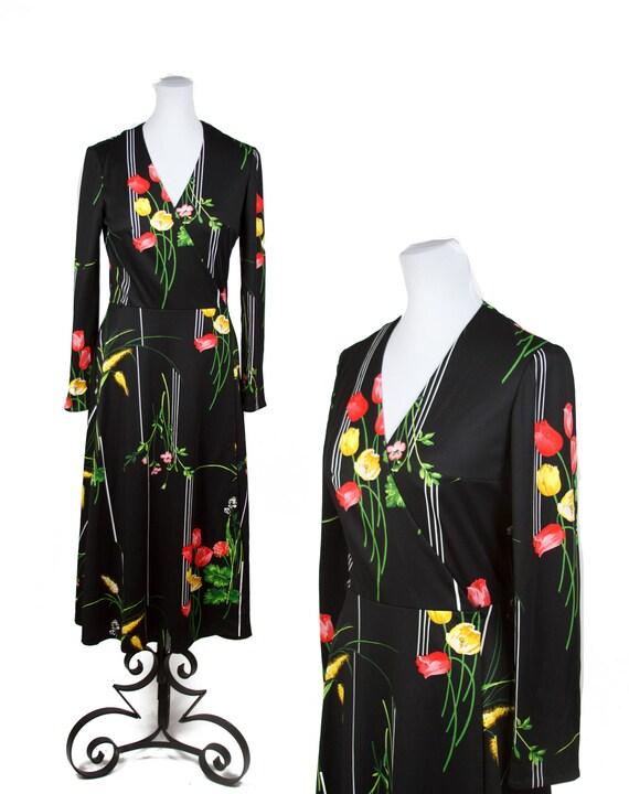 70s NOIR FLORAL WRAP Dress—Flowers and Stripes—Pol