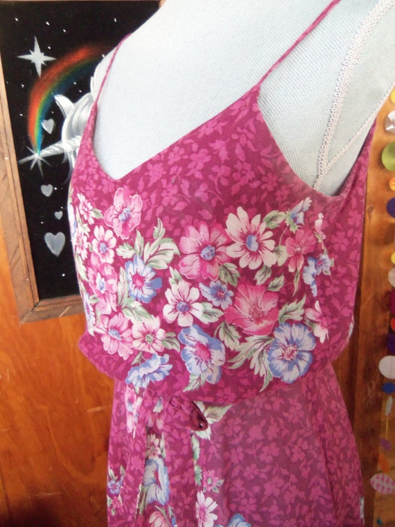 80s FLORAL VOILE SUNDRESS--Mulberry Color--Poly/C… - image 4