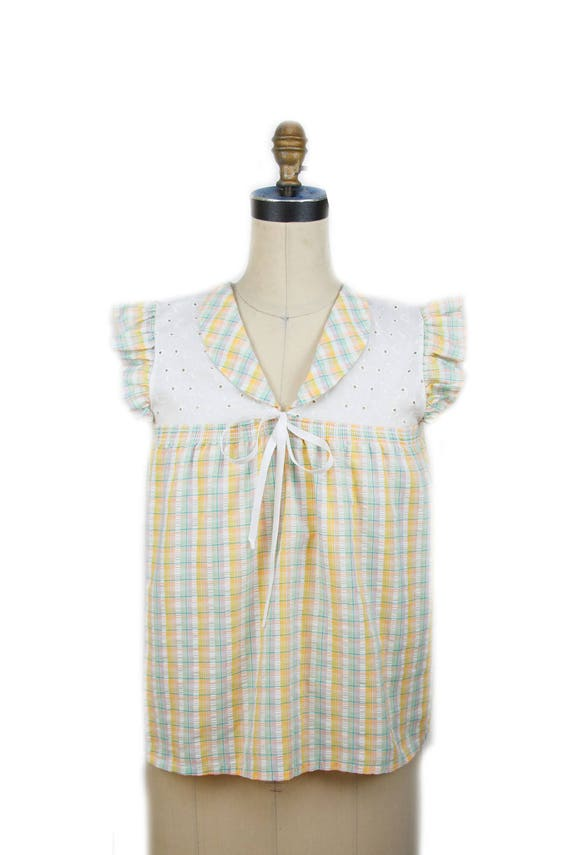 70s YOU BABES—Waffled Cotton Baby Doll Top—Ruffled